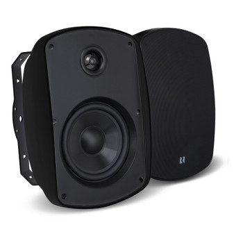 "Russound 5"" Black Indoor Outdoor Wall Mount or Bookshelf Speaker Bundle 3 pair (6 total)"
