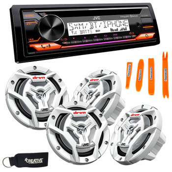 "JVC KD-T91MBS Marine Stereo w/ CD, BT, USB, SiriusXM Ready, Amazon Alexa + 2 Pair CS-DR6201MW 6.5"" White Marine Speakers"
