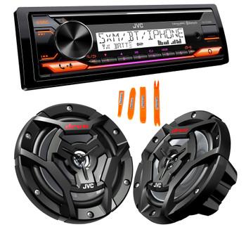 "JVC KD-T91MBS Marine Stereo w/ CD, BT, USB, SiriusXM Ready, Amazon Alexa + Pair CS-DR6200M 6.5"" Black Marine Speakers"