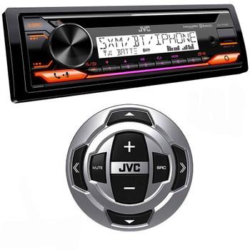 JVC KD-T91MBS Marine Stereo w/ CD, BT, USB, SiriusXM Ready, Amazon Alexa + RM-RK62M Wired Marine Remote Control