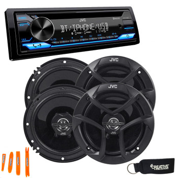 """JVC KD-T710BT - CD Receiver featuring Bluetooth, Front USB, AUX, Amazon Alexa + Two Pairs Of JVC 6.5"""" Speakers"""