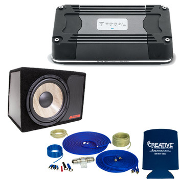 "Focal FDS2.350 2-Channel Amplifier + Flax-Universal-12 12"" Loaded Subwoofer Enclosure & Wiring Kit Bundle"