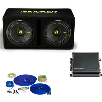 Kicker Dual 12 Inch Comp Bass Package 44DCWC122 with CXA8001 and amp wire kit