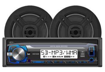 """DUAL MCP103B - Digital Media Receiver with SD Card, USB Inputs and 6.5"""" Speakers - Open Box"""