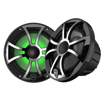Wet Sounds REVO 8-XSB-SS Black XS / Stainless Overlay Grill 8 Inch Marine LED Coaxial Speakers (pair) - Used Acceptable