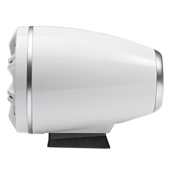 """Kicker KMFC65W 6.5"""" Flat Mount Loaded Marine Wake Towers with 46KM654L Speakers - White Grills And Enclosures"""