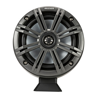 """Kicker KMFC65 6.5"""" Flat Mount Loaded Marine Wake Towers with 46KM654L Speakers - Charcoal Grills with Black Enclosures"""