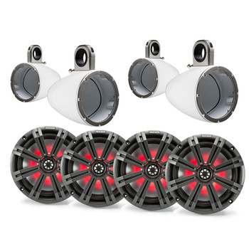 """Kicker 8"""" White\Charcoal Wake Tower LED Marine Speakers 2-Pairs"""