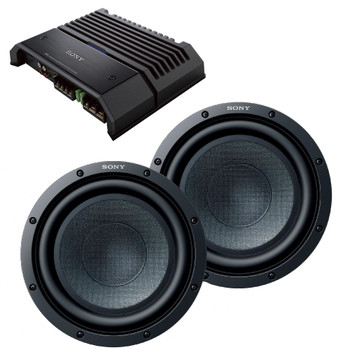 """Sony Bass Package - Two 10"""" xs-gsw101 Subwoofers with Sony xm-gs100 Amplifier"""