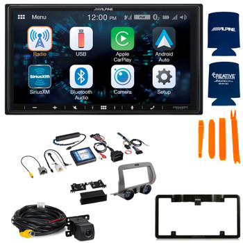 Alpine ILX-W650 7-Inch Receiver + PAC RPK5-GM4101 2010-15 Chevy Camaro Kit + Back up Camera and License Plate Frame