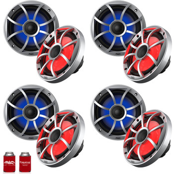 "Wet Sounds OE-65ic-S-RGB 6.5"" OEM Replacement Speakers with Silver Grill and RGB Lighting 4 Pairs"