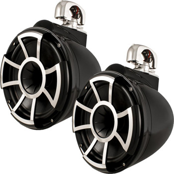 "Wet Sounds REV10B-SC 10"" Black Tower Speakers with Stainless Steel Swivel Clamps & SYN-DX4 800 Watt Amplifier"