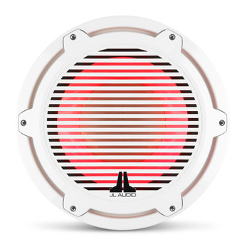 JL Audio 12-Inch M7 Marine Infinite Baffle Subwoofer, RGB LED, Gloss White, Classic Grille - SKU: M7-12IB-C-GwGw-i-4