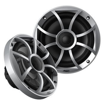 """Wet Sounds 1-Pair OE-65ic-S 6.5"""" OEM Replacement Speakers W/ Silver Grill + Kicker 12KMTESW 6.5"""" White Tower Pods"""