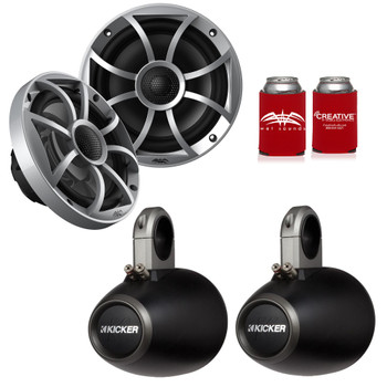 "Wet Sounds 1-Pair OE-65ic-S 6.5"" OEM Replacement Speakers W/ Silver Grill + Kicker 12KMTES 6.5"" Black Tower Pods"