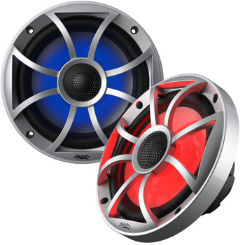 """Wet Sounds 1-Pair OE-65ic-S-RGB 6.5"""" OEM Replacement Speakers W/ Grill & Lighting+ Kicker 12KMTESW 6.5"""" White Tower Pods"""