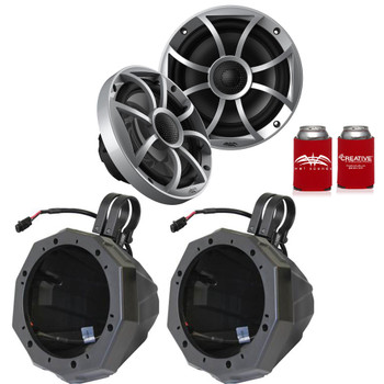"Wet Sounds 1-Pair OE-65ic-S 6.5"" OEM Replacement Speakers W/ Silver Grill + SSV US2-C65 6.5"" Pods w/1.75"" Clamps"