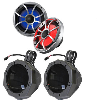 "Wet Sounds 1-Pair OE-65ic-S-RGB 6.5"" OEM Replacement Speakers W/ Grill & Lighting + SSV US2-C65 6.5"" Pods w/1.75"" Clamps"
