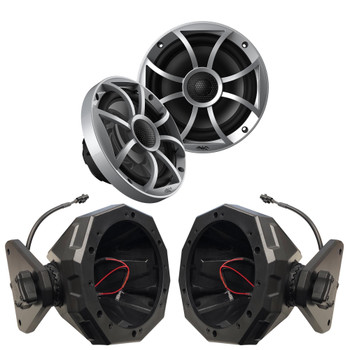 "Wet Sounds 1-Pair OE-65ic-S 6.5"" OEM Replacement Speakers W/ Silver Grill + SSV 17-up 4-door Wrangler 2017 AND UP JL 6.5"" Pods"