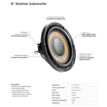 "Focal Sub P 20 FSE Flax 8"" Shallow Subwoofer, 4-Ohm, 200W"