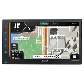"""Jensen CMN8620 6.8"""" Touchscreen Double DIN Navigational Mechless Receiver compatible with Front & Rear Back Up Camera"""