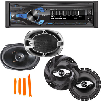 Jensen MPR2110 Single Din Mechless Receiver With Bluetooth and 1 pair of Jensen JS265 6.5 and Jensen JS692 6x9 Speakers
