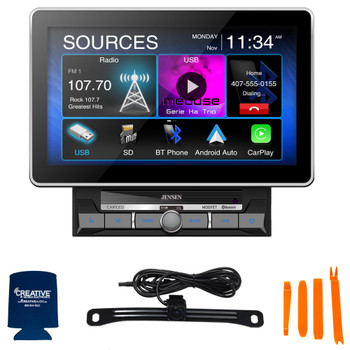 """Jensen CAR1000 10.1"""" Multimedia Receiver With Carplay And Android Auto with Jensen BUCAM400AJ Back Up Camera"""