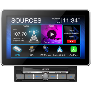 "Jensen CAR1000 10.1"" Multimedia Receiver compatible With Carplay And Android Auto with Jensen BUCAM400AJ Back Up Camera"