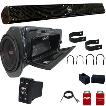 """Wet Sounds STEALTH-10 SURGE Sound Bar with 2.00"""" Clamps and Sliders & WW-BTRS & SSV WP-RZ4GBS10-W 10"""" Powered Subwoofer"""