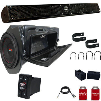 """Wet Sounds STEALTH-10 SURGE Sound Bar with 1.75"""" Clamps and Sliders + WW-BTRS + SSV WP-RZ4GBS10-W 10"""" Powered Subwoofer"""