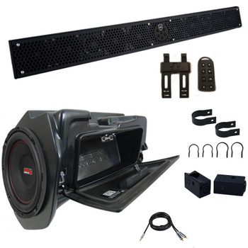 """Wet Sounds STEALTH-10 ULTRA HD-B Sound Bar with 1.75 Clamps and Sliders and SSV WP-RZ4GBS10-W 10"""" Powered Subwoofer"""