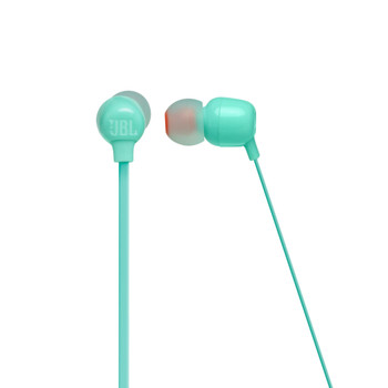 JBL Tune 115BT Teal Wireless in ear headphone with 3-button mic/remote, flat cable