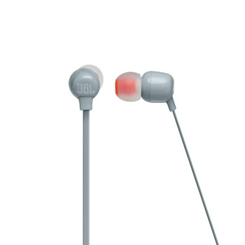 JBL Tune Gray Wireless in ear headphone with 3-button mic/remote, flat cable