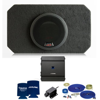 Alpine SBR-S8-4 R-Series 8 Inch Truck Bass package with S-A60M amplifier, bass knob, and woofer grill