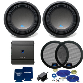 Alpine S Series Dual 10 Inch Bass package with S-A60M amplifier, bass knob, and woofer grills (2 woofers)