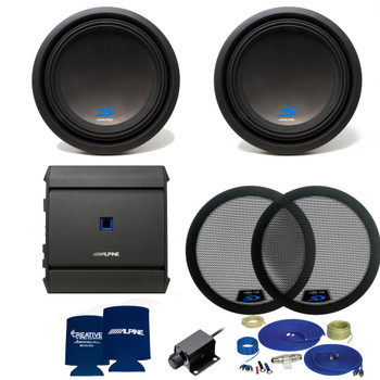 Alpine S-Series Dual 12 Inch Bass package with S-A60M amplifier, bass knob, and woofer grills (2 woofers)