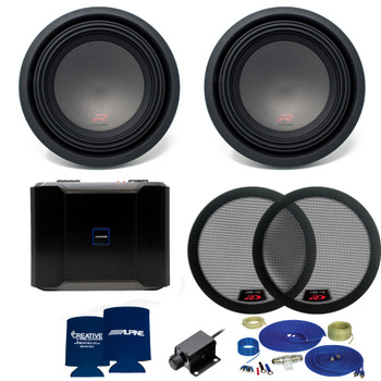 Alpine R-Series Dual 10 Inch Bass package with R-A75M amplifier, bass knob, and woofer grills (2 woofers)