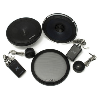 """Alpine Type-X Bundle 2-Pairs X-S65C 6.5"""" Component speakers and X-A70F 700W 4-Ch Amp and Wiring"""