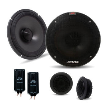 """Alpine Type-R Bundle 2-Pairs R-S65C.2 6.5"""" Component speakers with R-A60F 600W 4-Ch Amp and Wiring"""