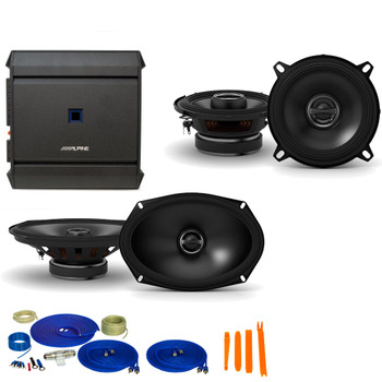 "Alpine 1-Pair S-S50 5.25"" Coax speakers and 1-Pair S-S69 6x9"" Coax speakers with S-A32F 320W 4-Ch Amp and Wiring"