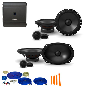 "Alpine 1-Pair S-S65C 6.5"" Component Speakers, 1-Pair S-S69C 6x9"" Component Speakers with S-A32F 320W 4-Ch Amp and Wiring"