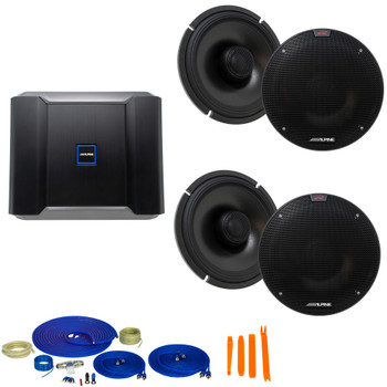 """Alpine Type-R Bundle 2-Pairs R-S65.2 6.5"""" Coax speakers with R-A60F 600W 4-Ch Amp and Wiring"""