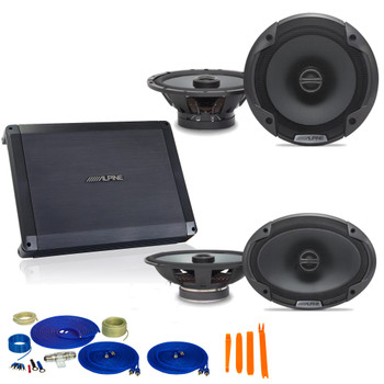 "Alpine Bundle 1-Pair SPE-6090 6x9"" Coax speakers, 1-Pair SPE-6000 6.5"" Coax, BBX-F1200 280W 4-Ch Amp and Wiring"