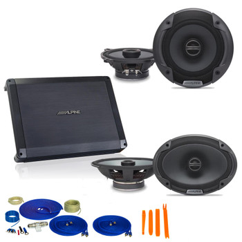 "Alpine Bundle 1-Pair SPE-6090 6x9"" Coax speakers, 1-Pair SPE-5000 5.25"" Coax, BBX-F1200 280W 4-Ch Amp and Wiring"