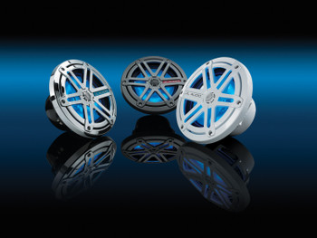 JL Audio Marine 6.5-inch coaxials (pr): Sport Grille, Titanium with LED illumination (Blue) - Open Box