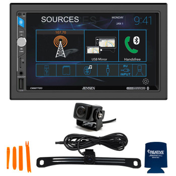 Jensen CMM7720 7 Inch Touchscreen Receiver Built-in Bluetooth technology with Front and Rear Back Up Camera