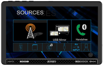 """Jensen CMM710 10.1"""" Multimedia Receiver Built-in Bluetooth technology compatible with Front and Rear Back Up Camera"""