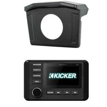Polaris 2013-18 RANGER SPXRNGDASH Radio Mounting Kit and KICKER 46KMC4 Waterproof Radio