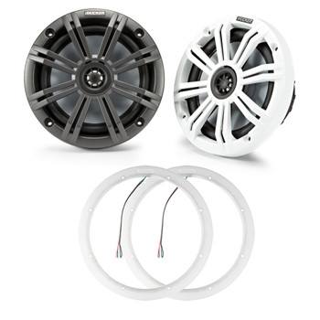 Kicker 45KM654 6.5 Marine Coax with Charcoal and White Grills with a Pair of 47KLSR65 6.5 Led Lighted Speaker Ring