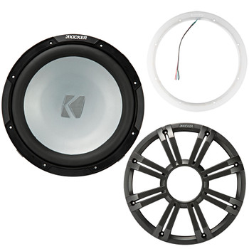 Kicker 45KM124 12 Inch Marine Subwoofer 4 Ohm Charcoal Grill with 47KLSR12 Led Lighted Speaker Ring